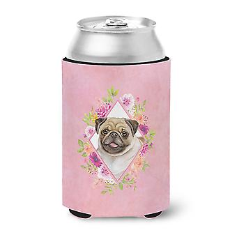 Carolines Treasures  CK4174CC Fawn Pug Pink Flowers Can or Bottle Hugger