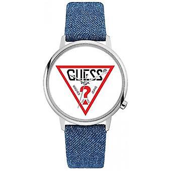Original Guess klocka V1001M1 - original blå Jean kvinna stål fall armband