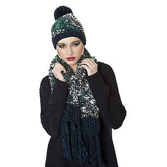 Mesdames Slub Knit Beanie Style mode hiver chapeau & écharpe Set Teal
