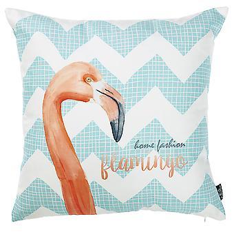 Flamingo ja Aqua Chevron koristeellinen heittotyynynpäällinen