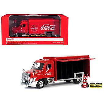 Beverage Delivery Truck Coca-Cola With Handcart And 4 Bottle Cases 1/50 Diecast Model By Motorcity Classics