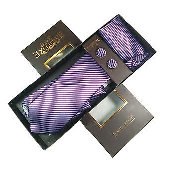 Tie, Cufflink & Hankerchief Set Exlusive Milan Collection 100% Hand Made Silver & Purple Stripes