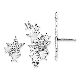 14.7mm 925 Sterling Argent Rhodium plaqué CZ Cubic Zirconia Simulated Diamond Star Left and Right Earrings Bijoux Cadeaux