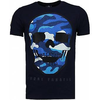 Army Skull-Rhinestone T-shirt-Navy