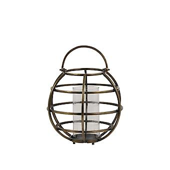 Licht en levende lantaarn 40x49cm Tila Wire Raw Antiek bronsglas