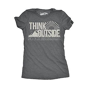 Womens Think Outside No Box Necessary Funny Outdoor Nature T Shirt (Dark Heat...