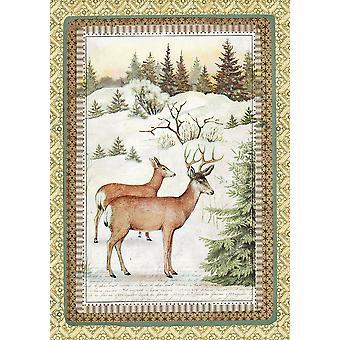Stamperia Reispapier Blatt A4-Winter botanischen Rentier
