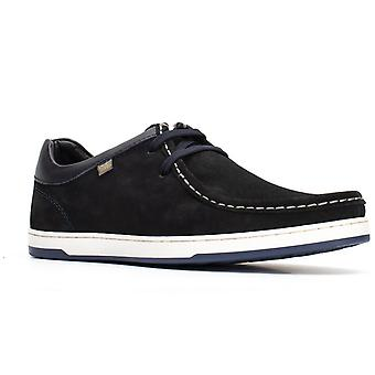 Basis Londen Mens Dougie Suede Lace Up Shoe Navy