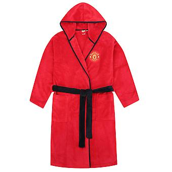 Manchester United FC Official Football Gift Boys Fleece Dressing Gown Robe