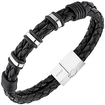 Men's 2-row leather black with stainless steel bracelet 21 cm Mr bracelet
