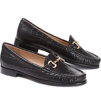 Jones 24-7 Womens Anna Rose Croc Leather Snaffle Loafer