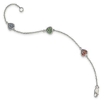 925 Sterling Silber Hummer Kralle Verschluss poliert Liebe Herzen mit rot grün blau Glas Stein Armband 6 Zoll