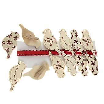 Christmas Wooden Bird Clips x 12 with Ribbon - Christmas Card Holder