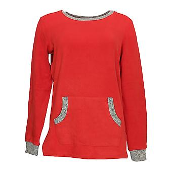 Cuddl Duds Frauen's Pyjama Top Fleecewear Stretch Neuheit rot A371296