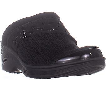 BZees Dolce Slide Clog Platform Flats, Black Knit