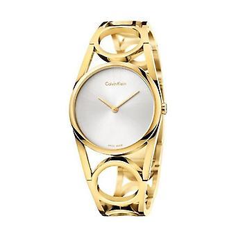 Calvin Klein K5U2M546 redondo plata dial amarillo oro Pvd reloj señoras