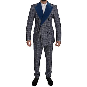 Dolce & Gabbana Blue Wool Double Breasted Jacket Suit