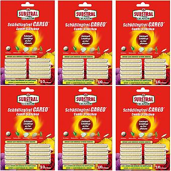 Sparset: 6 x SUBSTRAL® Celaflor® Pest-fri Careo® Combi Sticks, 10 stykker