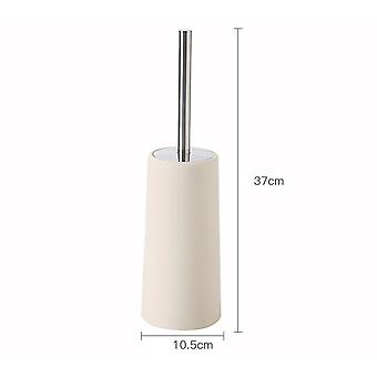 Standing Slim Compact Plastic Toilet Bowl Brush and Holder with Lid Cover for Bathroom Deep Cleaning