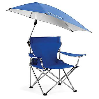 Portable folding camping chair with awning for outdoor activities, beach, fishing