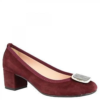 Leonardo Sko Kvinner's håndlagde midt hæler pumper sko i burgunder semsket skinn med spenne
