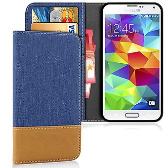 Samsung Galaxy S5 Mini Phone Shockproof Magnet Protection Mobile Shell Denim Leatherette