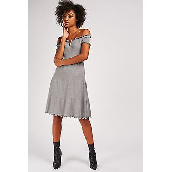 V-Plated Plated Knit Dress