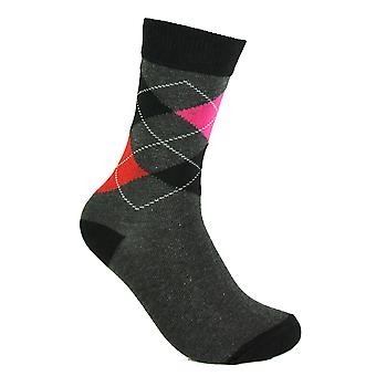Women's Argyle Diamond Casual Cotton Over Ankle Socks 4-6