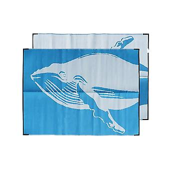Whale Recycled Plastic Mat Blue White