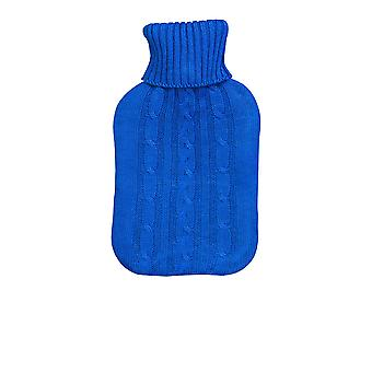 Full Size Hot Water Bottle With Knitted Cover - Blue