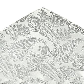 Krawatten Planet Van Buck Silber Paisley gemusterte Tasche Quadrat Taschentuch