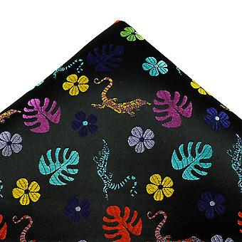 Ties Planet Van Buck Platinum Black With Colourful Leaves & Lizard Patterned Silk Pocket Square Handkerchief