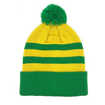 fan originals Retro Football Bobble Hat in Newton Heath Colours Yellow Green