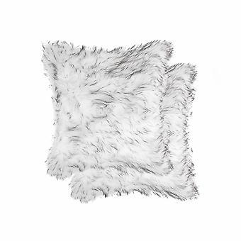 """18"""" x 18"""" x 5"""" Gradient Gray Faux Fur  2pack Pillow"""