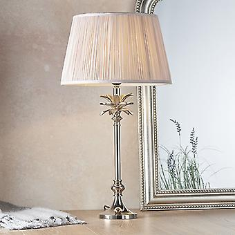 Table Lamp Polished Nickel Plate & Dusky Pink Silk 1 Light IP20 - E27