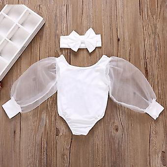 Copii Bodysuits Dantela Puff Lung Maneca Solid JumpsTs primăvară Princess Topuri