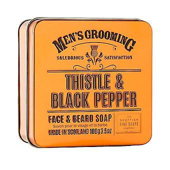 Scottish Fine Soaps Thistle & Black Pepper Face & Beard Soap in a Tin 100g