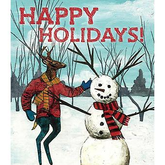 Happy Holidays Snowman Deer Card