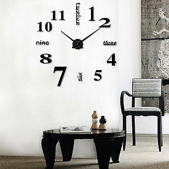 Diy 3d Mirror Surface Large Number Wall Clock Sticker, Home Decor Mirror,