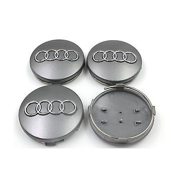 Silver Audi Wheel Center Caps Hub Badges 60mm 4 PCS For A3 A4 A6 A8 TT