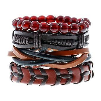 Punk Woven Cowhide Bracelet Multiplayer Men's Hemp Leather Beads Bracelets
