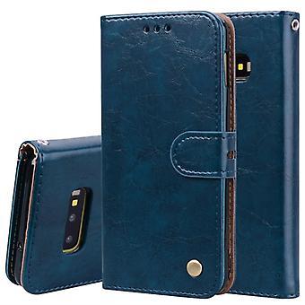 Business Style Oil Wax Texture Horizontal Flip Leather Case pour Galaxy S10 E, avec Holder & amp; Fentes de carte & Portefeuille (Bleu)