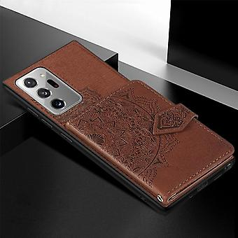 Pour Samsung Galaxy Note 20 Ultra Mandala Embossed Magnetic Cloth PU + TPU + PC Case with Holder & Fentes de carte & Portefeuille & Cadre photo & Sangle (Brun)