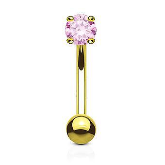 Øjenbryn ring buet vægtstang 14k massivt guld med gren runde kubiske zirkonia
