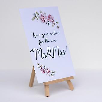 Laissez vos souhaits Boho White Card et chevalet mariage Guest Book signe