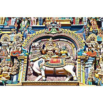 Taustakuva seinämaalaus helpotus Meenakshi temppeli (Tamil Nadu, Intia)