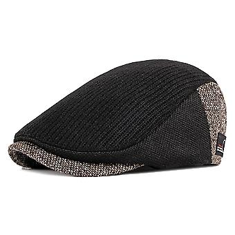 New Fashion Men's Knitted Patchwork Flat Beret Hats Color Block Newsboy