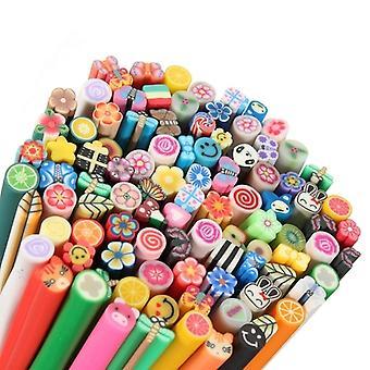 100 Pcs 3d Diy Nail Art Fimo Canes/rods Sticker Tips - Decoration Colour Clay