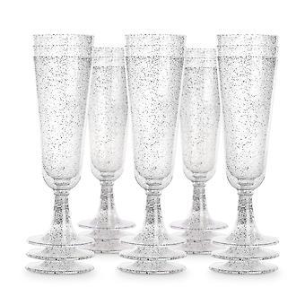 Plastové champagne flauty - Sada 50 | Pukkr Striebro
