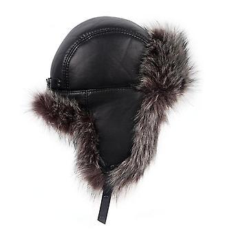 Winter Ushanka Leather Faux Fox Fur Russian Hat